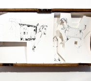 Nina Annabelle Märkl | Daily acts | ink on paper cut outs wooden box | 44,5 x 88 x 15,5 cm | 2011
