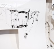 Nina Annabelle Märkl | Daily acts | ink on paper cut outs wooden box | 44,5 x 88 x 15,5 cm | 2011 | Detail