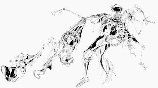 Nina Annabelle Märkl | Der Tod in Gesellschaft | ink pencil charcoal on paper | 145 x 255 cm | 2012