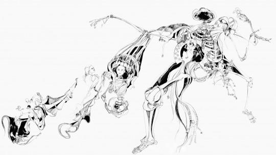 Nina Annabelle Märkl | Der Tod in Gesellschaft | ink pencil charcoal on paper | 145 x 255 cm | 2012