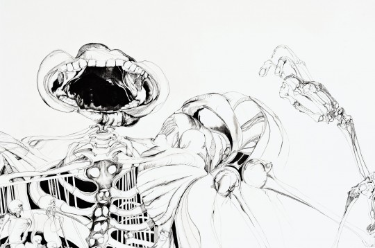 Nina Annabelle Märkl | Der Tod in Gesellschaft | ink pencil charcoal on paper | 145 x 255 cm | 2012 | Detail