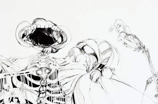 Nina Annabelle Märkl | Der Tod in Gesellschaft | ink pencil charcoal on paper | 145 x 255 cm | 2012 | Detail