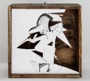 Nina Annabelle Märkl | Gerätschaft | ink on paper cut outs wooden box | 32 x 30 x 20 cm | 2012