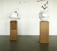 Nina Annabelle Märkl | Kugeln | ink on paper cut outs brass mixed media | 50 x 50 x 146 cm | 2011 | Installation