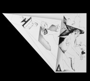 Nina Annabelle Märkl | Fragmented fiction 14 | Ink on folded paper, cut-outs | 56 x 38 cm | 2016
