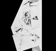 Nina Annabelle Märkl | Fragmented fiction 16 | Ink on folded paper, cut-outs | 50 x 33 cm | 2016