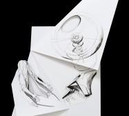 Nina Annabelle Märkl | Fragmented fiction 20 | Ink on folded paper, cut-outs | 50 x 40 cm | 2016