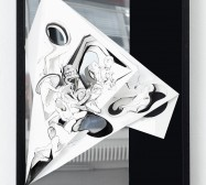 Nina Annabelle Märkl | Torsionen 1| Ink on folded paper, Cutouts, polished steel | 105 x 75 x 5 cm | 2016