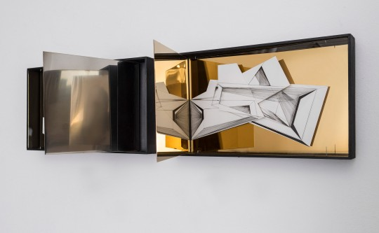 Nina Annabelle Märkl | Space 6.2. | Ink on folded paper, cutouts, polished and folded steel | 23 x 42 x 26 cm | 2017