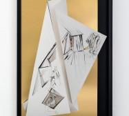 Nina Annabelle Märkl | Torsionen 6 | Tusche auf gefaltetem Papier, Cutouts, schwarzer Karton, Holz, Spiegelmetall| 105 x 75 x 5 cm | 2017