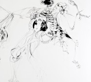 Nina Annabelle Märkl | Der Tod in Gesellschaft | ink pencil charcoal on paper | 145 x 255 cm | 2012 | Detail in progress