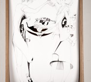 Nina Annabelle Märkl | Bohrungen an der Aussenwand 1 | Ink on paper Cut Outs wooden box | 55 x 35 x 12 cm | 2013