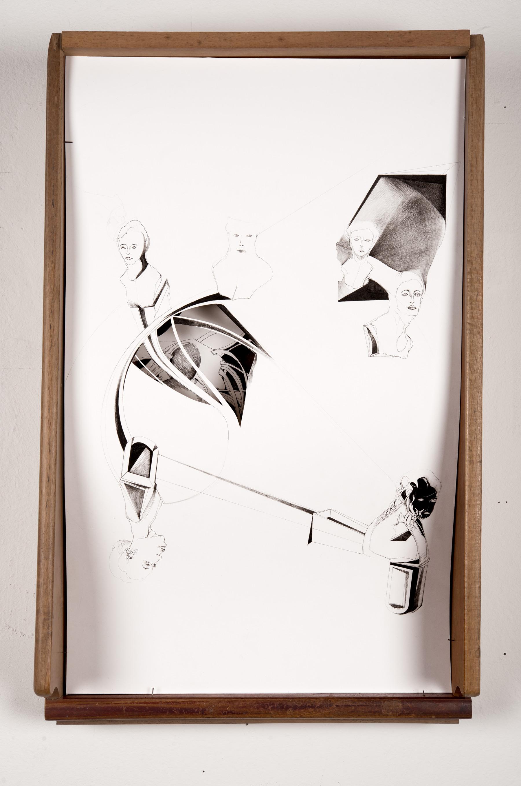 Nina Annabelle Märkl | Bohrungen an der Aussenwand 2 | Ink on paper Cut Outs wooden box | 55 x 35 x 12 cm | 2013