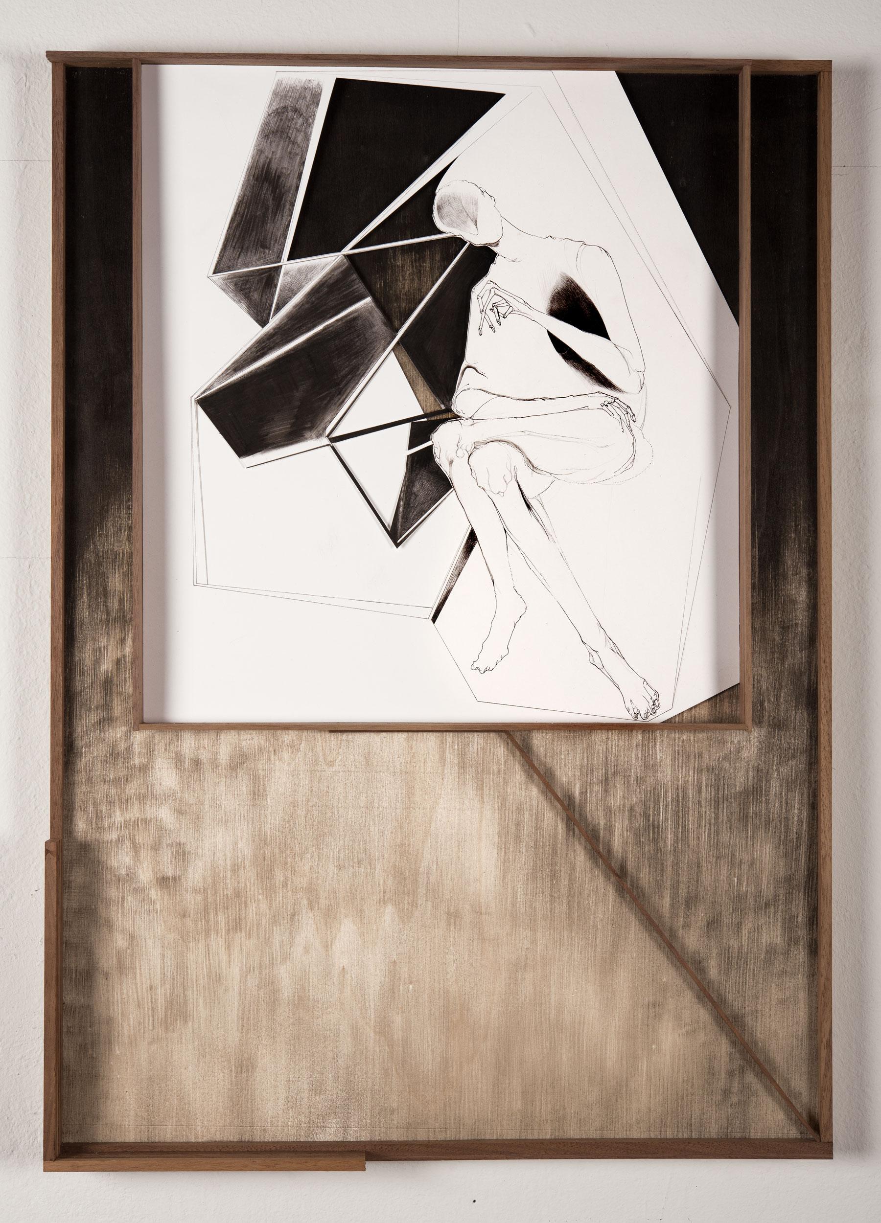 Nina Annabelle Märkl | Modell Nummer 1 | Ink on paper Cut Outs wood black paper | 59 x 42 cm | 2014
