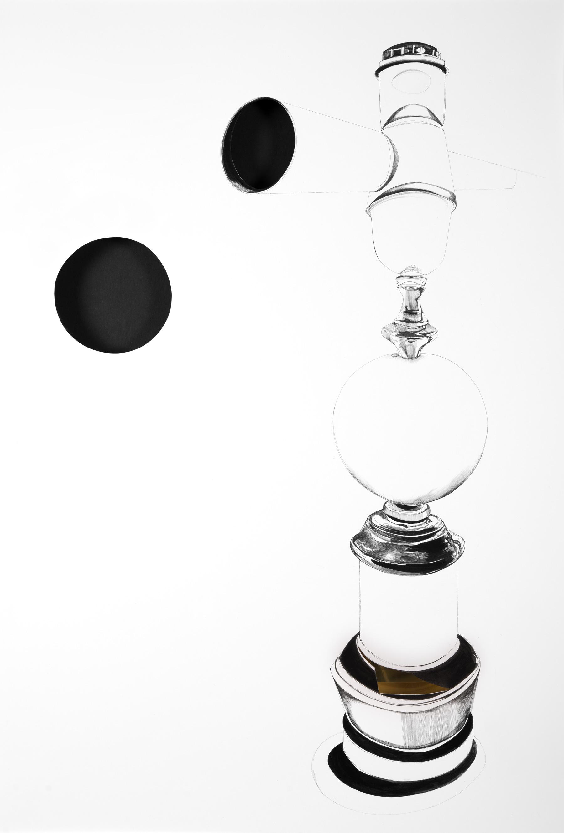 Nina Annabelle Märkl | Reflections 3 | Ink on paper Cut Outs black paper brass | 70 x 50 x 3 cm | 2014