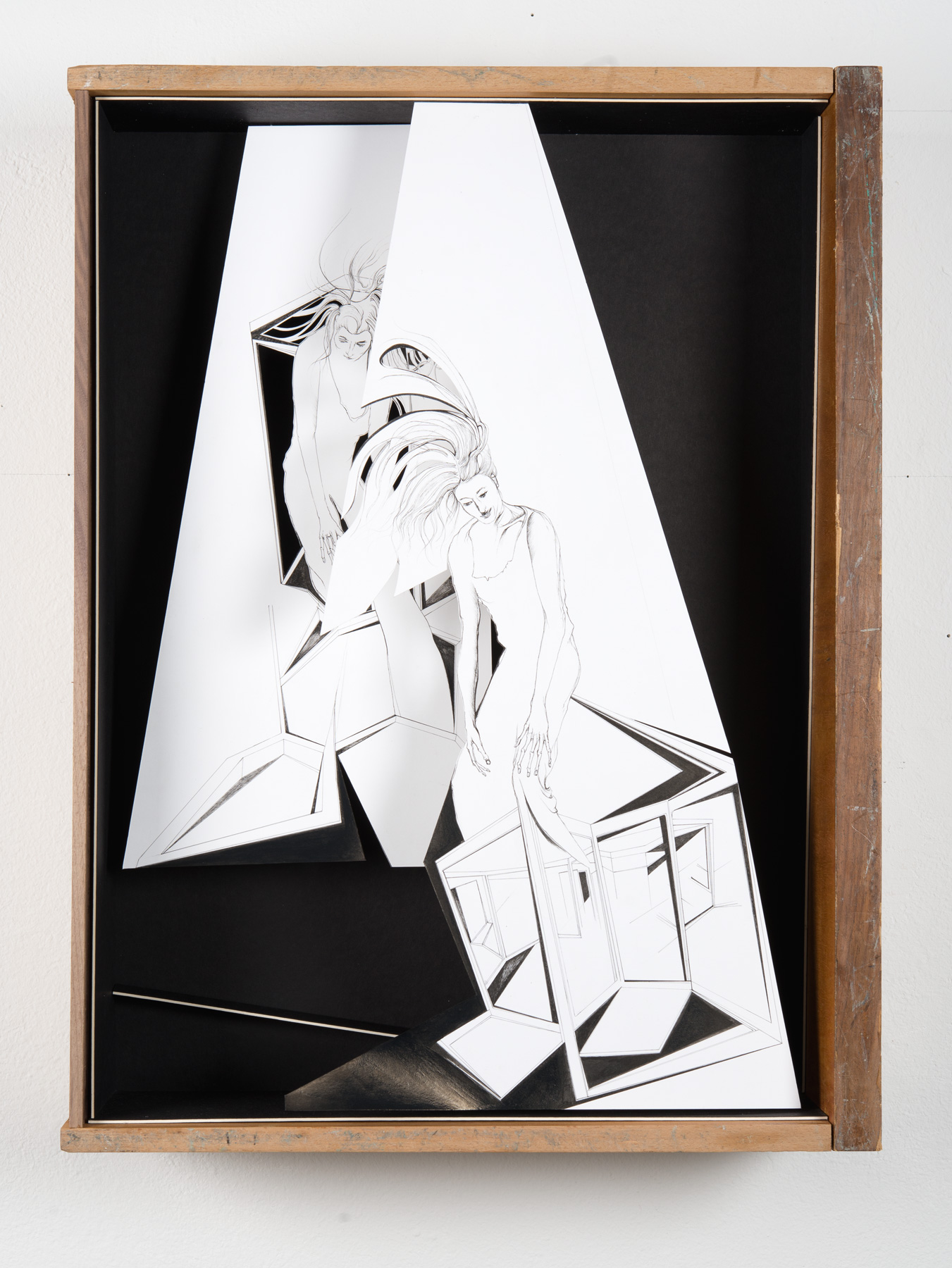 Nina Annabelle Märkl | Into the light | Ink on paper, cut outs, black paper, wooden box | 55 x 43,5 x 15 cm | 2014
