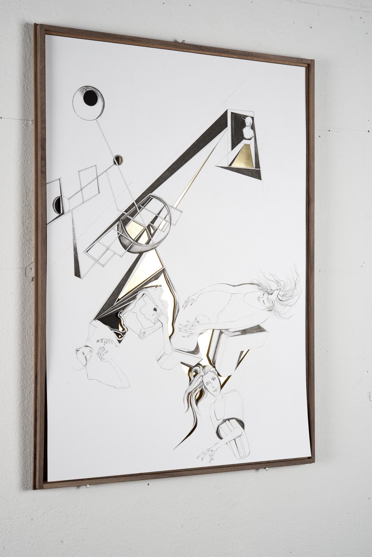 Nina Annabelle Märkl | Modell Nummer 3 | Ink on paper, cut outs, black paper, brass | 59 x 42 cm