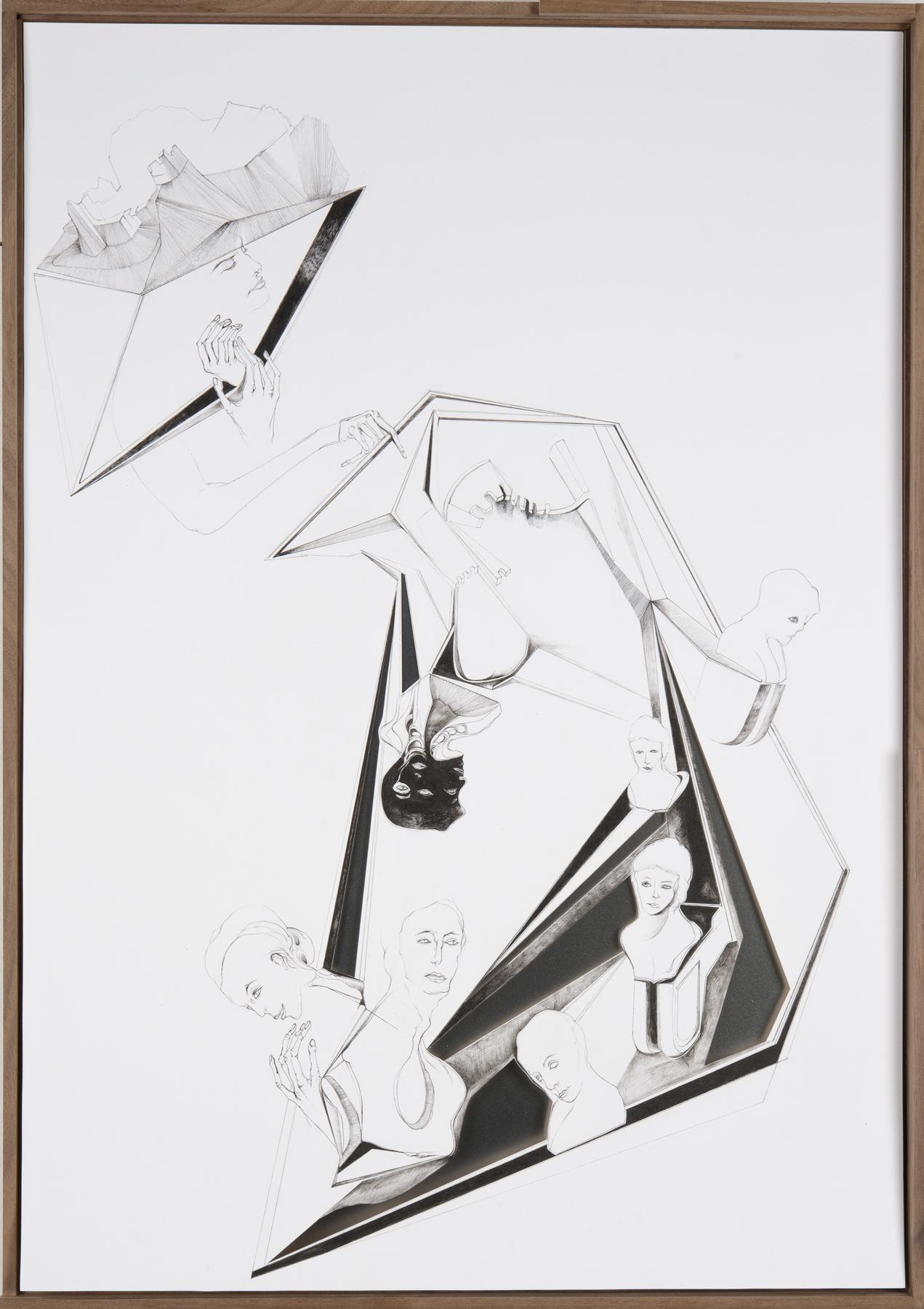 Nina Annabelle Märkl   Modell Nummer 4   ink on paper, cut outs, alumnium   59 x 42 cm