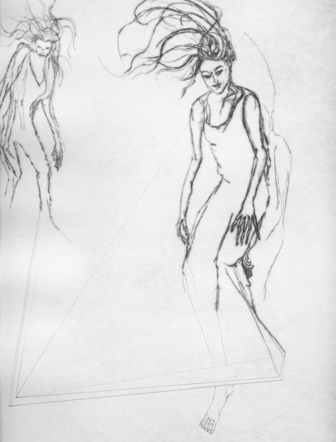 Nina Annabelle Märkl   Moshpit 4 11   Kaltnadel, Tusche, Bleistift, 300g Hahnemühle Büttenpapier   Platte 29,7 x 27 cm Papier 56 x 39 cm