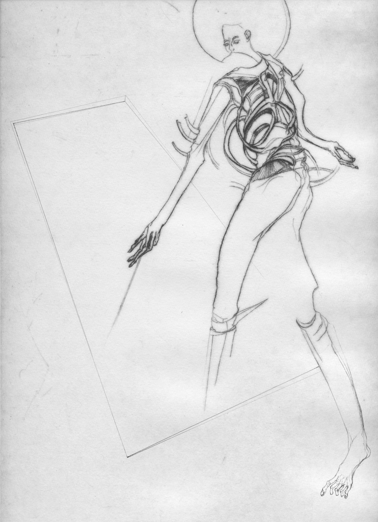 Nina Annabelle Märkl   One step inside 6 14   Kaltnadel, Tusche, Bleistift, 300g Hahnemühle Büttenpapier   Platte 35 x 23 cm Papier 56 x 39 cm