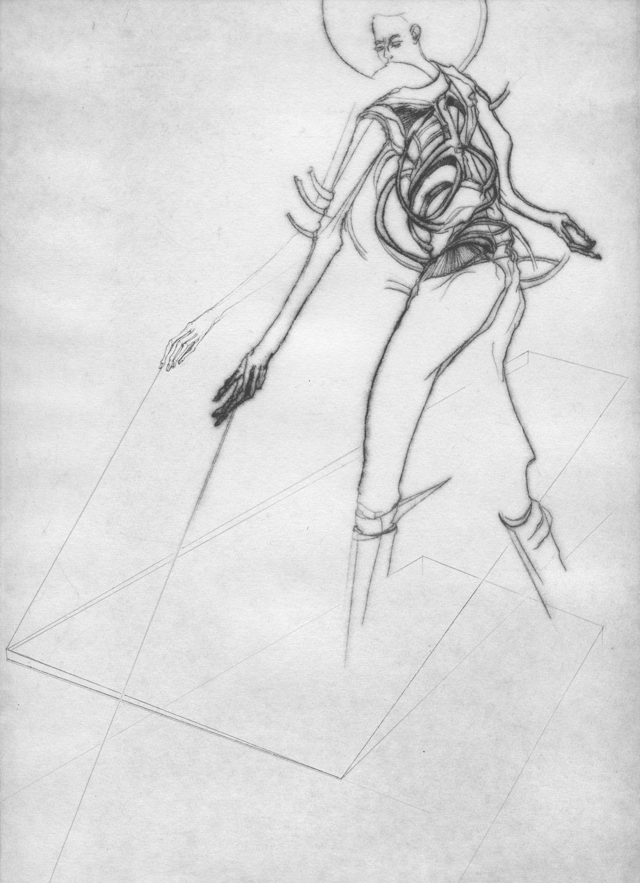 Nina Annabelle Märkl | One step inside 7|14 | Kaltnadel, Tusche, Bleistift, 300g Hahnemühle Büttenpapier | Platte 35 x 23 cm Papier 56 x 39 cm
