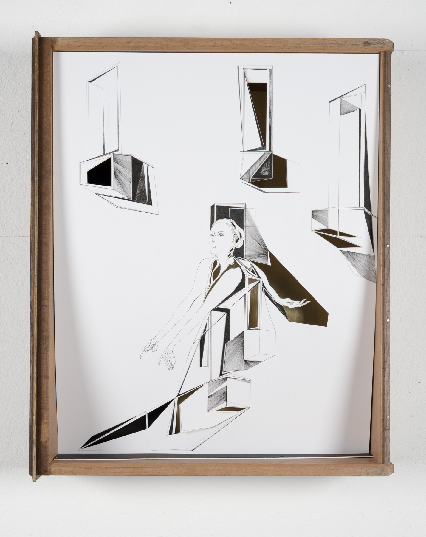 Nina Annabelle Märkl | Open doors | Ink on paper, cut outs, brass, wooden box | 46 x 38 x 11 cm | 2014