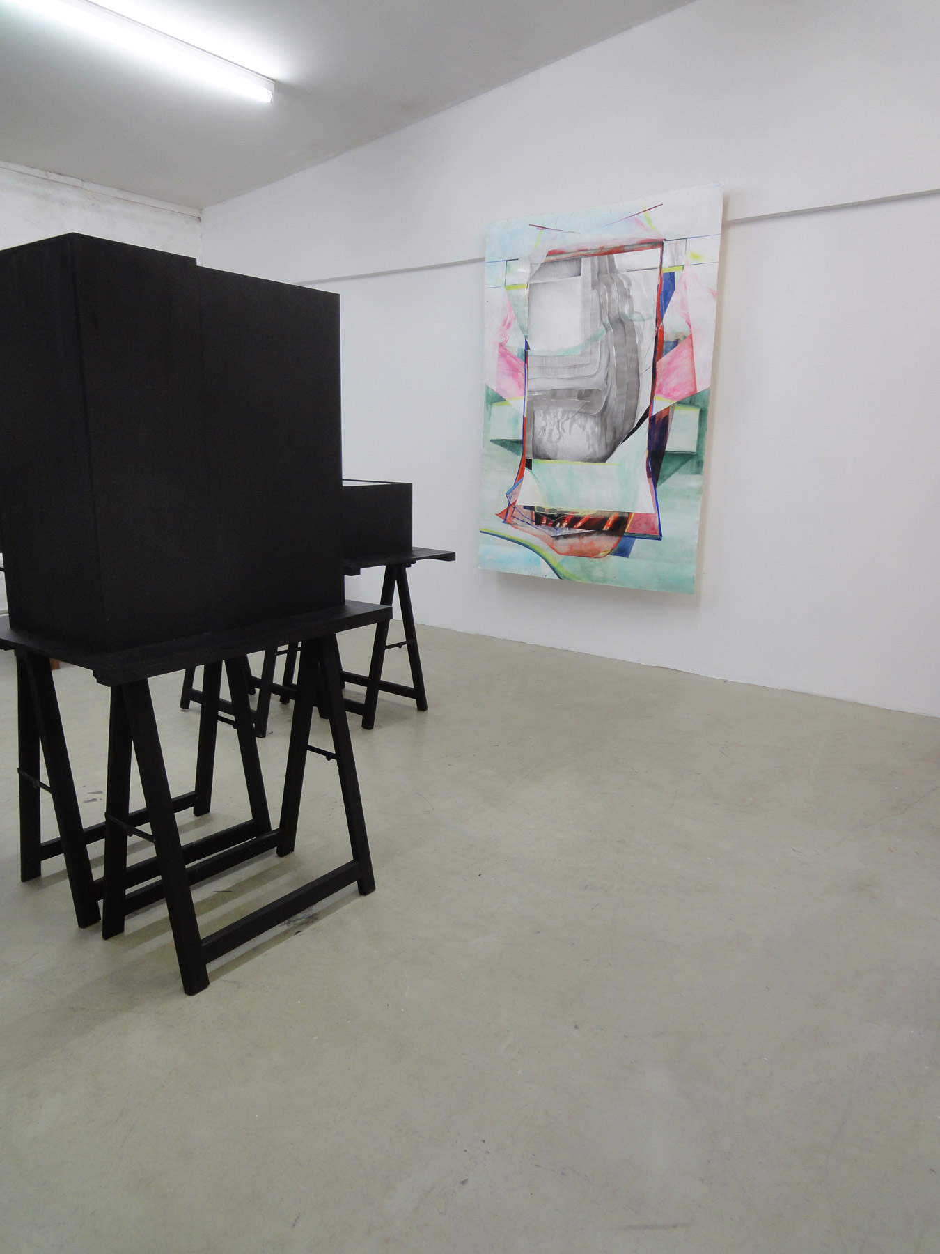 Nina Annabelle Märkl | Possible sculptures for a life somehow distracted | Installation with Jenny Forster (painting) | 2015