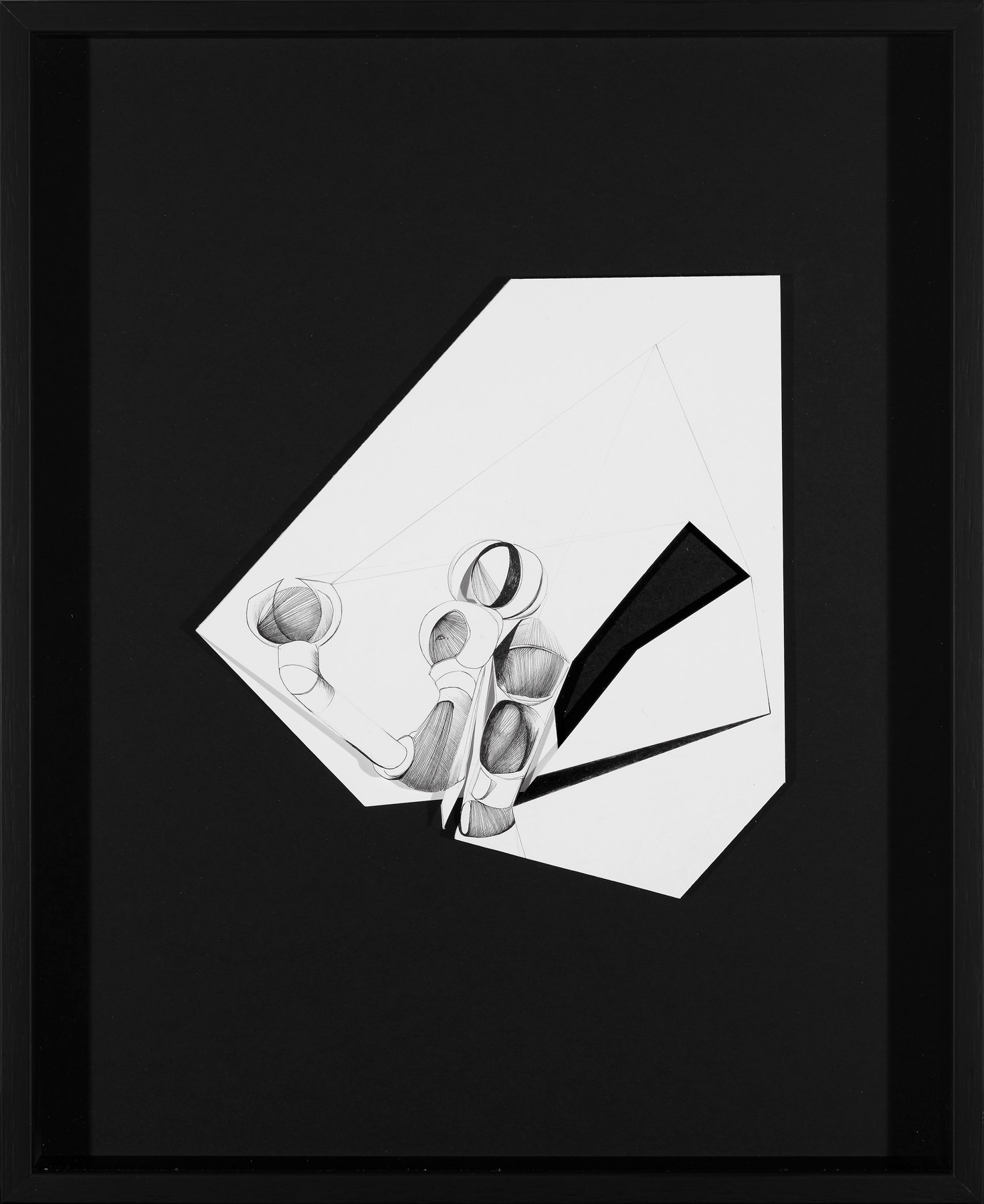 Nina Annabelle Märkl | Fragmented fiction II| Ink on folded paper cut outs | 41 x 33 cm | 2015 | photo: Walter Bayer
