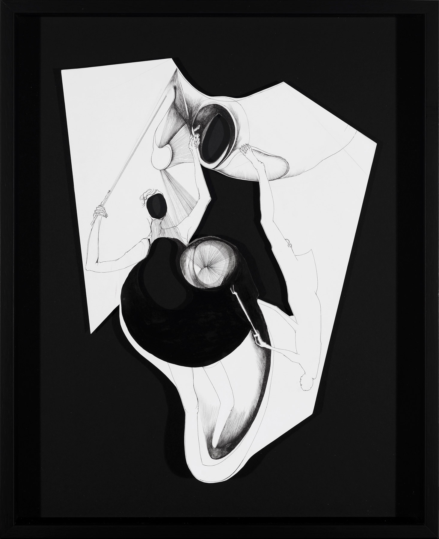 Nina Annabelle Märkl | Fragmented fiction I | Ink on folded paper cut outs | 41 x 33 cm | 2015 | photo: Walter Bayer