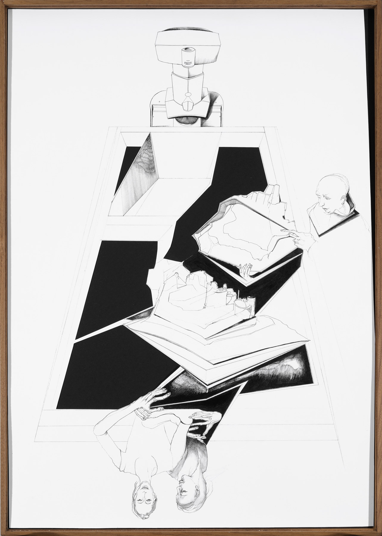 Nina Annabelle Märkl | Modell Nr. 2 | Ink and pencil on paper, cut outs, black paper | 69 x 42 cm | 2014 | photo: Walter Bayer