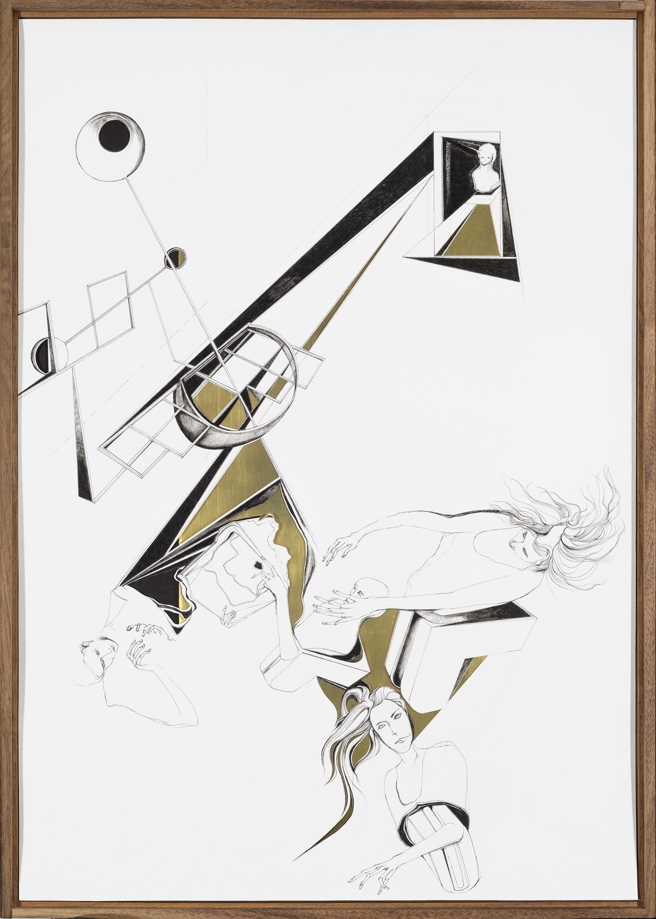 Nina Annabelle Märkl | Modell Nr. 3 | Ink and pencil on paper, cut outs, brass, black paper | 69 x 42 cm | 2014 | photo: Walter Bayer