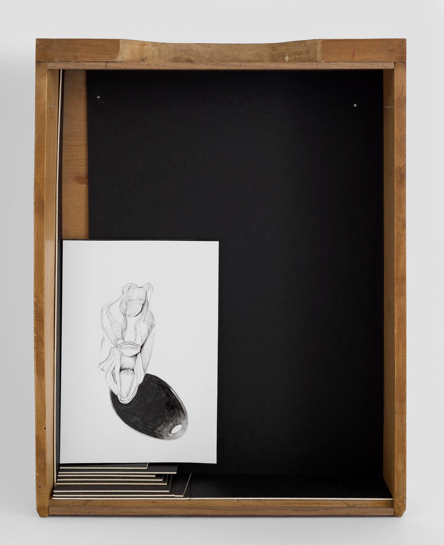 Nina Annabelle Märkl | Untitled | Ink and pencil on paper, black cardboard, box | 43 x 33 x 8 cm | 2014 | photo: Walter Bayer