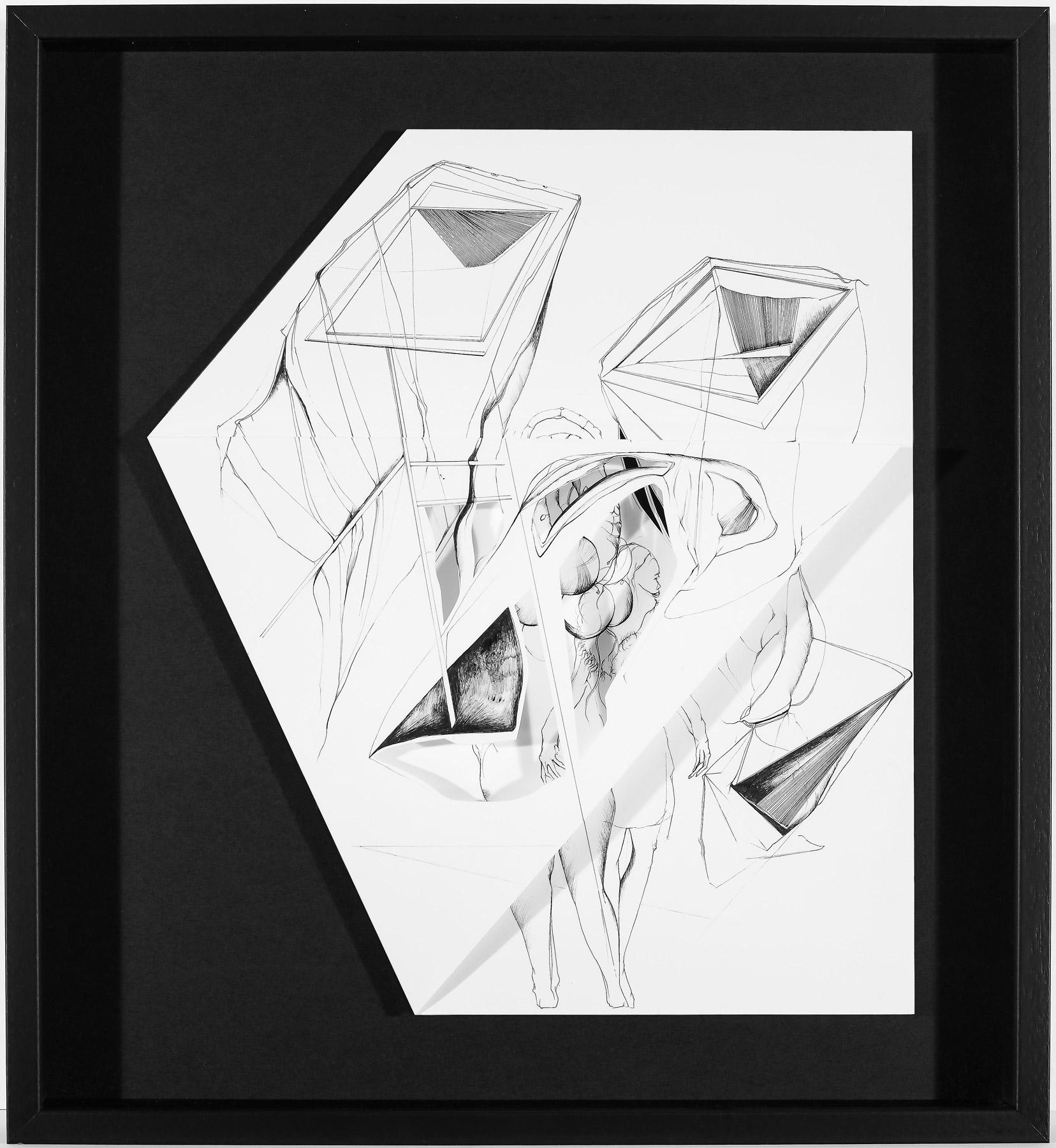 Nina Annabelle Märkl | Hidden Tracks II | Ink on folded paper cut outs | 36 x 33 cm | 2015