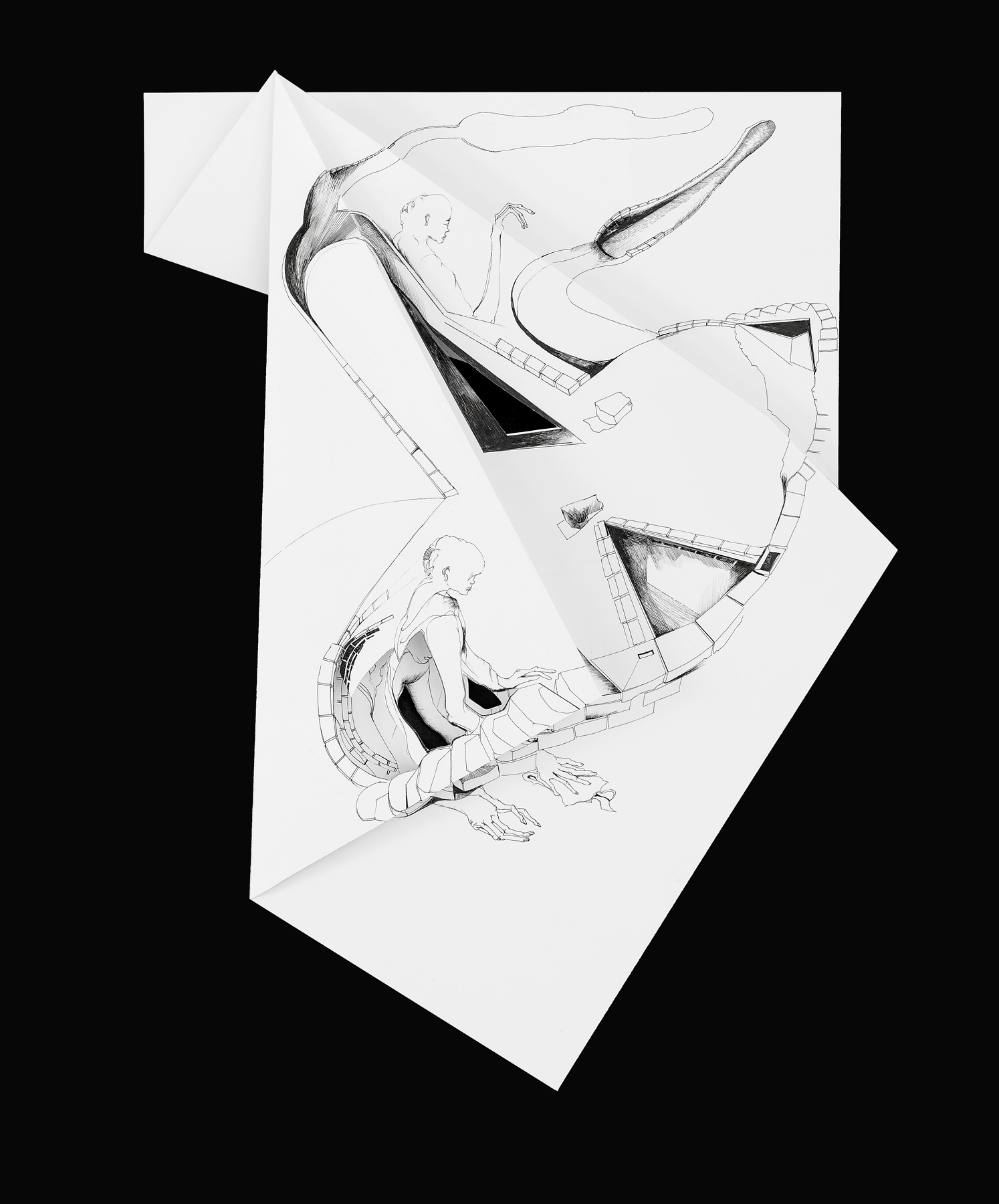 Nina Annabelle Märkl   Fragmented Fiction VIII   Ink on folded paper, Cut - Outs   46 x 38 cm   2016
