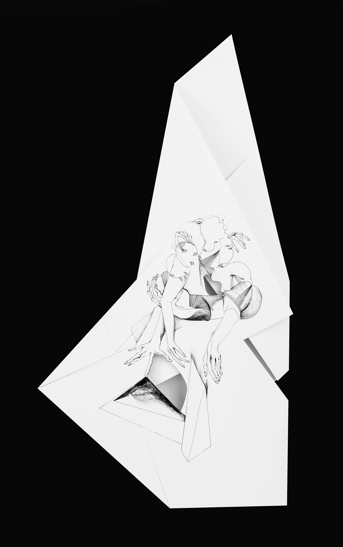 Nina Annabelle Märkl | Fragmented Fiction XII | Ink on folded paper, Cut - Outs | 48 x 30 cm | 2016