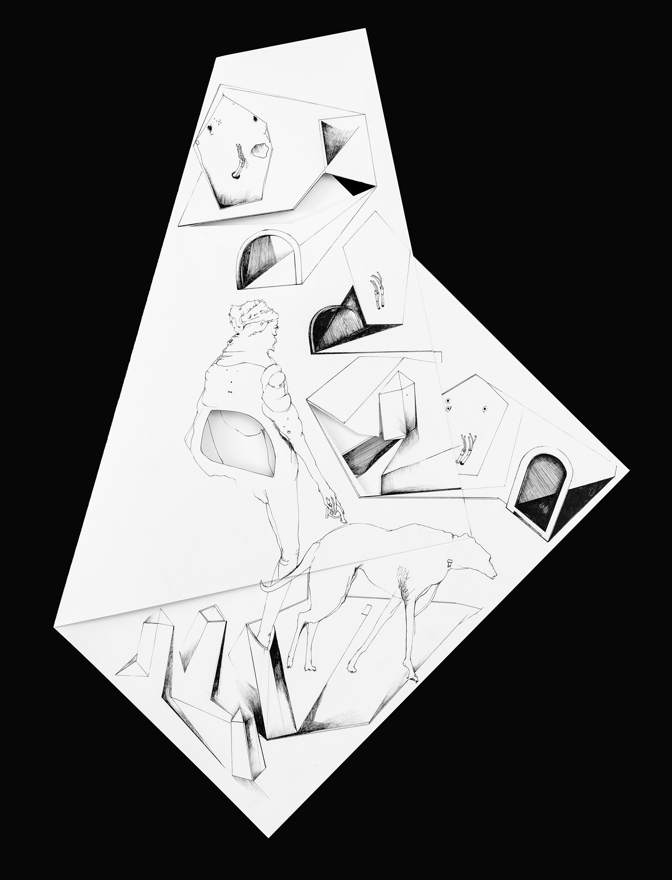Nina Annabelle Märkl | Fragmented Fiction XI | Ink on folded paper, Cut - Outs | 50 x 38 cm | 2016