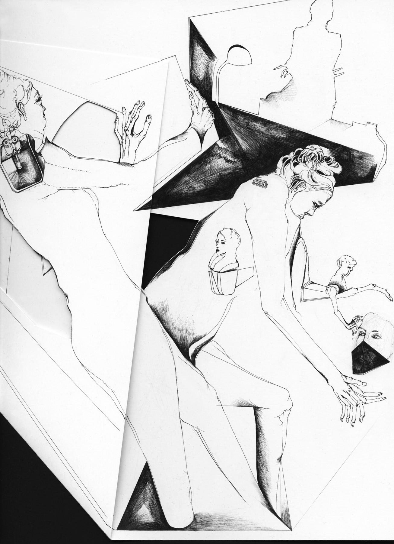 Nina Annabelle Märkl   Inselgruppe bei Kunstlicht   Ink on folded paper, Cut - Outs   Detail   2016