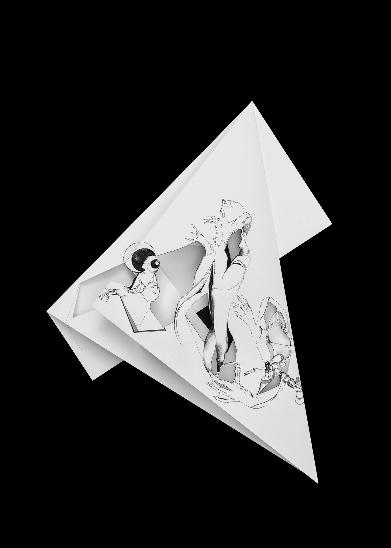 Nina Annabelle Märkl | Fragmented fiction 13 | Ink on folded paper, cut-outs | 44 x 38 cm | 2016