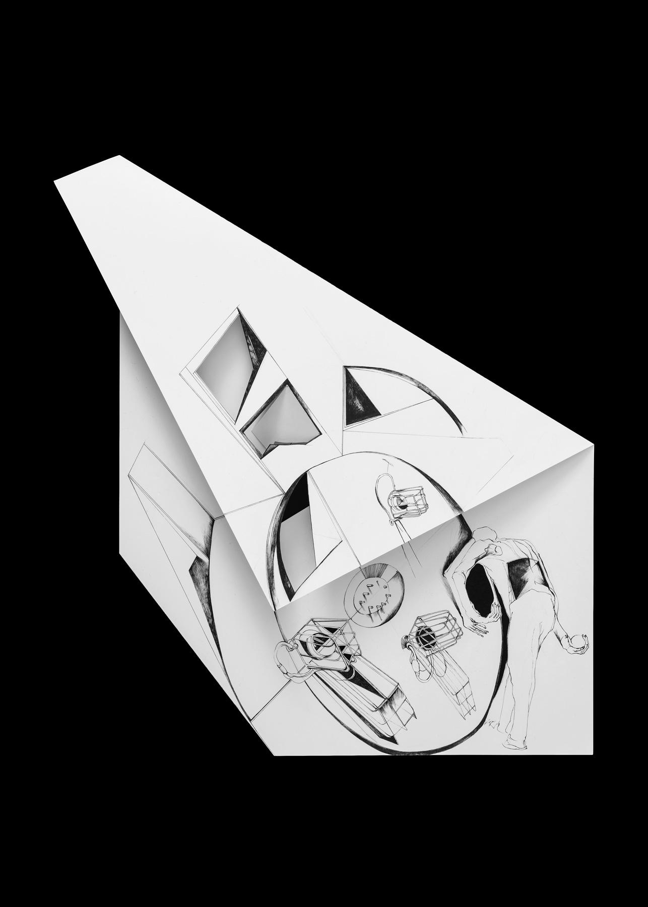 Nina Annabelle Märkl | Fragmented fiction 15 | Ink on folded paper, cut-outs | 54 x 34 cm | 2016