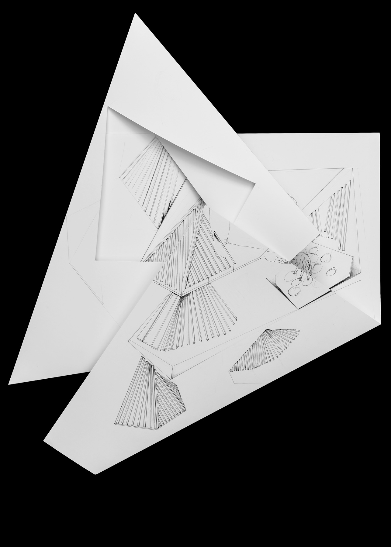 Nina Annabelle Märkl | Fragmented fiction 21 | Ink on folded paper, cut-outs | 50 x 40 cm | 2016
