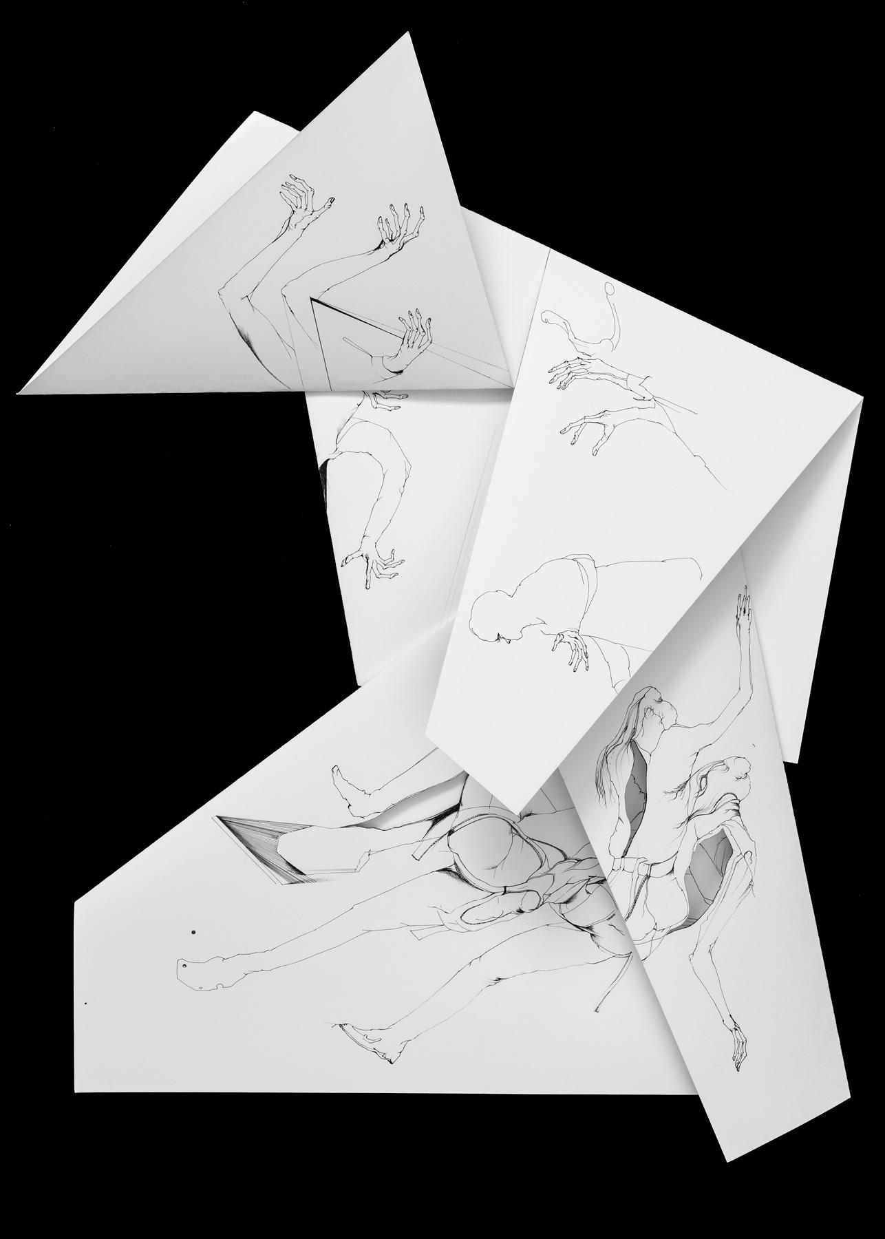 Nina Annabelle Märkl   Fragmented fiction 23   Ink on folded paper, cut-outs   60 x 38 cm   2016