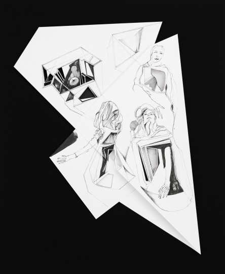 Nina Annabelle Märkl | Fragmented fiction 9 | Ink on folded paper, cut-outs | 44 x 36 cm | 2016