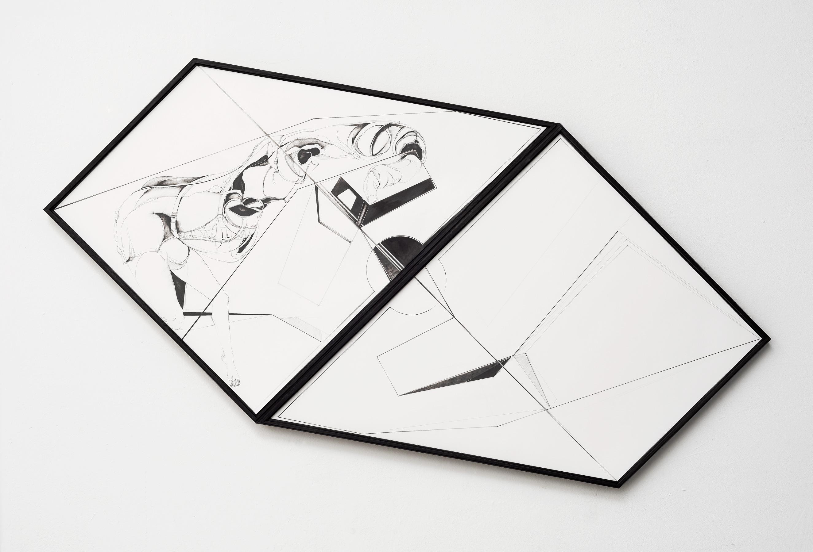 Nina Annabelle Märkl | Scapes 4 | Ink on paper, cutouts, wood | 145 x 89 cm | 2014