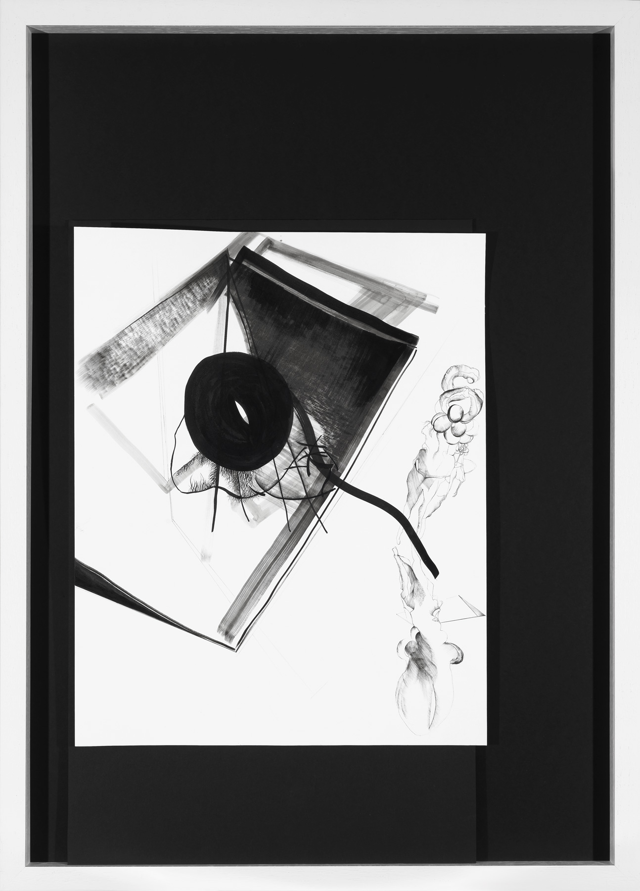 Nina Annabelle Märkl | Balancing the Whimsical 1 | Ink on paper, black cardboard, needle | 105 x 75 x 5 cm | 2015