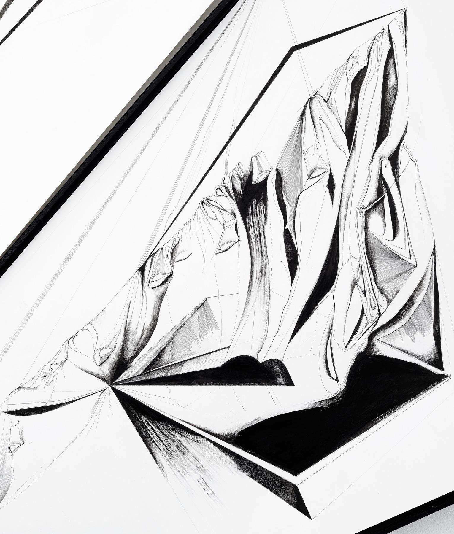 Nina Annabelle Märkl | Scapes 7 | 140 x 120 cm | Ink on folded paper, Cutouts, wood | 2016