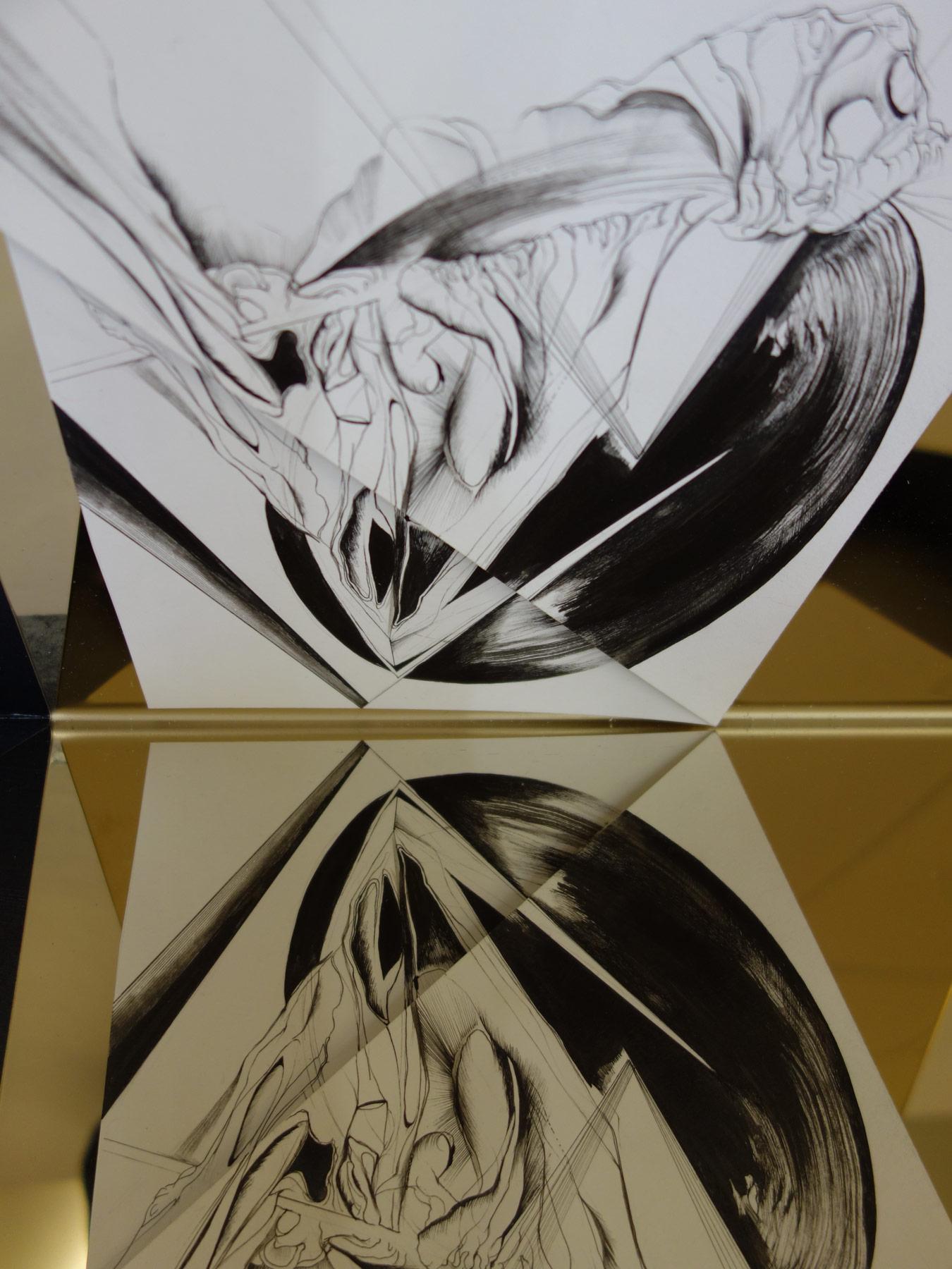 Nina Annabelle Märkl | Space 4 | Ink on folded paper, cutouts, polished steel, wood | 44 x 44 x 26 cm | 2016
