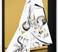 Nina Annabelle Märkl | Torsionen 2| Ink on folded paper, Cutouts, polished steel | 105 x 75 x 5 cm | 2016