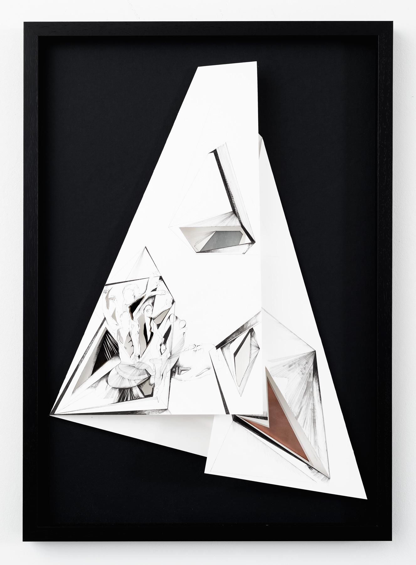 Nina Annabelle Märkl | Torsionen 3 | Ink on folded paper, cutouts, brass, copper, polished steel, black cardboard | 105 x 75 x 5 cm | 2016