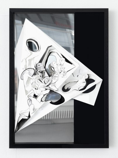 Nina Annabelle Märkl | Torsionen 1| Ink on folded paper, Cutouts, polished steel | 105 x 75 x 5 cm | 2016