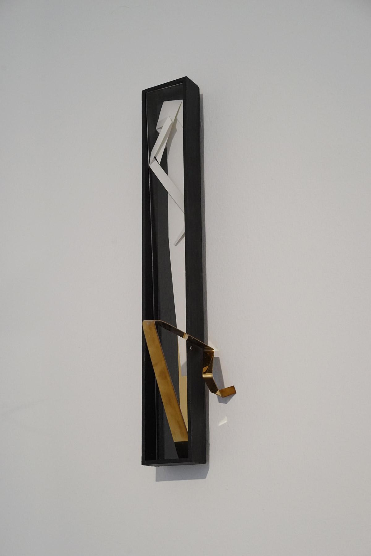 Nina Annabelle Märkl | Line and Space 3 | Ink on folded paper, wood, polished steel | 44 x 12 x 10 cm | 2017